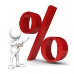 man with percentage sign